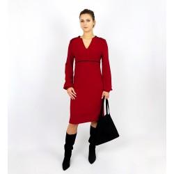 Rotes, Elegantes Kleid mit Schlitz, Iza Fabian.