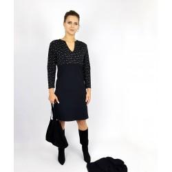 Damen Kleid in Schwarz Muster Jersey Elegant von Iza Fabian