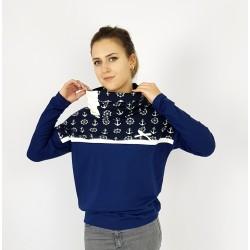 Damen Hoodie Pullover Ankermuster Blau von Iza Fabian