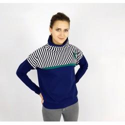 Damen Hoodie Pullover mit Querstreifen in Blau von Iza Fabian