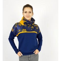 Damen Pullover Hoodie mit Blumen in Gelb und Blau von Iza Fabian