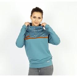 Damen Pullover Hoodie in Blau Blumen Muster von Iza Fabian
