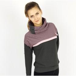 Damen Hoodie Pullover Grau Streifen Rosa von Iza Fabian
