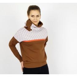 Hoodie in Braun mit Retro Muster für Damen, von Iza Fabian.