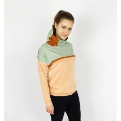 Damen Hoodie Pullover in Beige und Mint, Blumen Muster von Iza Fabian.