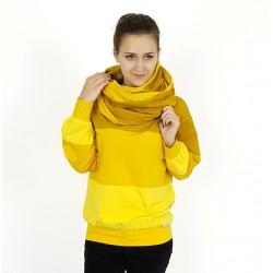 Damen Set Pullover und Loop in Gelbtönen von Iza Fabian.