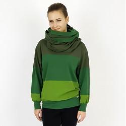 Damen Pullover mit Loop Schal in gestreiften Grün Tönen, Iza Fabian.
