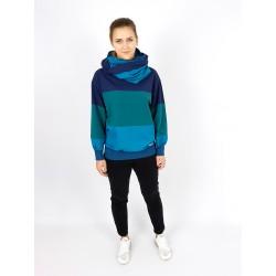 Blau gestreifte Set Pullover und Schal von Iza Fabian