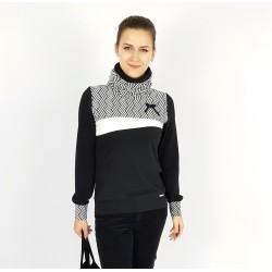 Schwarze Rollkragen Pullover, Retro Muster von Iza Fabian.