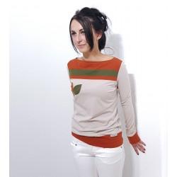 Longsleeve Damen Pullover in Beige mit Applikationen von Iza Fabian.