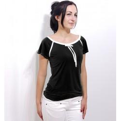 Damen Retro T-Shirt, Schwarz. Elegant mit Schleife von Iza Fabian.